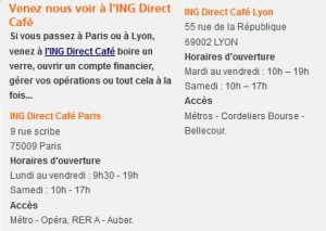 infos de contact ING direct
